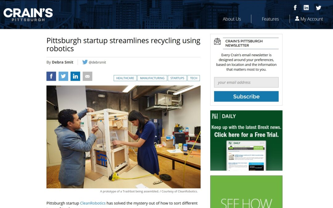 TrashBot Featured on Crain's Pittsburgh